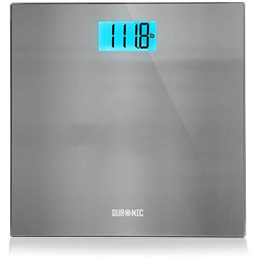Duronic BS103 Báscula de baño digital - Capacidad máxima de 180kg – Pantalla LCD azul fácil de leer- Diseño de acero inoxidable - Enciende al subirse - Peso corporal en kg, lb y st