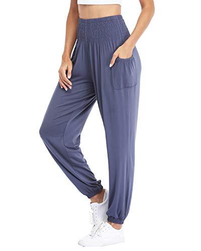 Dilgul - Pantalones largos para correr, yoga, pilates, tiempo libre, elásticos, largos gris 48
