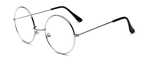 LHSDMOAT Retro klassische klare Linse Gläser round ohne stärke brille Metall Brillengestell Dekorative Flachglasbrille Für Mann Frau