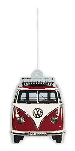 BRISA VW Collection - Volkswagen Luft-Erfrischer, Duft-Spender, Duft-Baum fürs Auto/KFZ mit VW T1 Bulli Bus Frontmotiv (Vanille/Rot)