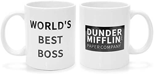 The Office Coffee Mug Double Sided Mug With Dunder Mifflin and World s Best Boss for Man Women product image