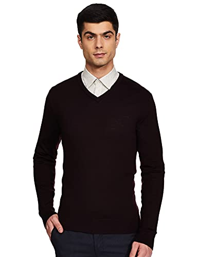 Calvin Klein Men Brown Solid Sweater Wool