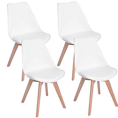 camera da letto bianco, 4 adatte per sala da pranzo N//A Set di 4//6 eleganti sedie in plastica design minimalista gambe in legno sedia da ufficio