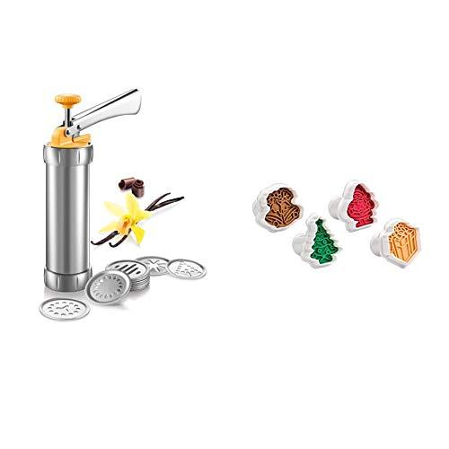Tescoma 630535 Pistola Sparabiscotti/Decoratore per Torte, Metallo 'Delicia' & 630857 Tagliabiscotti Delicia con Stampa Natalizia, 4 Pezzi