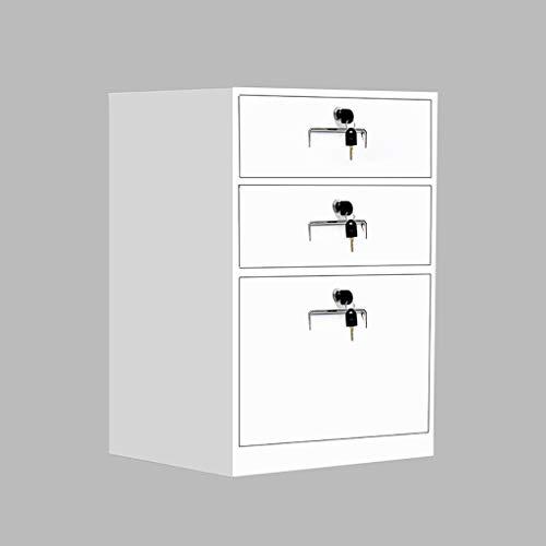 3 lades met slot demontage Bestand Kabinet Metalen invullen Bestand Kabinet nachtkastje Tafel Kantoordocumenten Kabinet Opbergkast 44 * 39 * 65cm