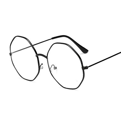NJJX Gafas De Moda Para Mujer, Montura De Anteojos Redondos Vintage, Gafas Ópticas De Miopía De Metal, Lentes Transparentes, Gafas Ligeras Cómodas, Negro