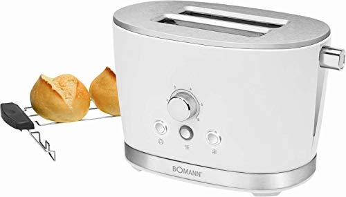 Toaster mit Brötchenaufsatz Weiß Edelstahl Regelbarer Thermostat (Retro, 850 Watt, 2 Toastschlitze, Krümelschublade)