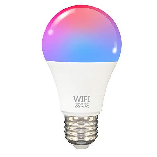 Fcmila TY007 Bombilla de luz WiFi Inteligente LED RGB Que Cambia de Color Compatible con Amazon Alexa/Google Home/IFTTT/Tmall Genie No Requiere Hub A19 E27 Multicolor Tuya/SmartLife App