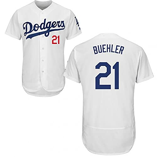 JFIOSD 2021 Dodgers #21 Buehler Baseball Fan Jersey,Hombre Mujer Verano Deporte Respirable Camisa,(S-3XL),Blanco,XL