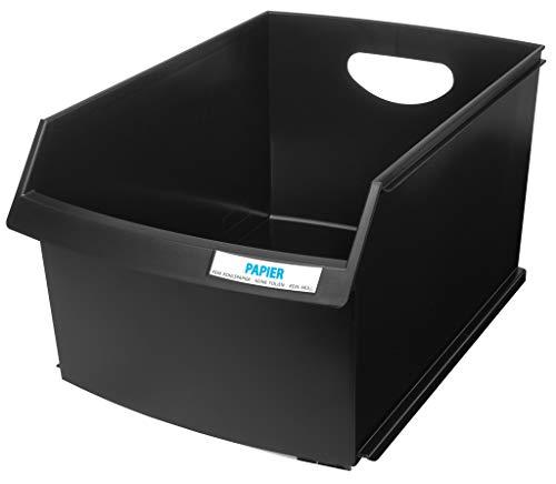 HAN Papierkorb LOGO DRIVE – die perfekte Lösung zur Abfallseparierung, formschön und beschriftbar, 25 Liter Volumen, schwarz, 1849-13