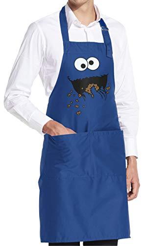 vanVerden Cookie Monster Keks-Monster - Schürze Grillschürze Kochschürze Küchenschürze mit Tasche, Farbe:Royal Blue (Blau)