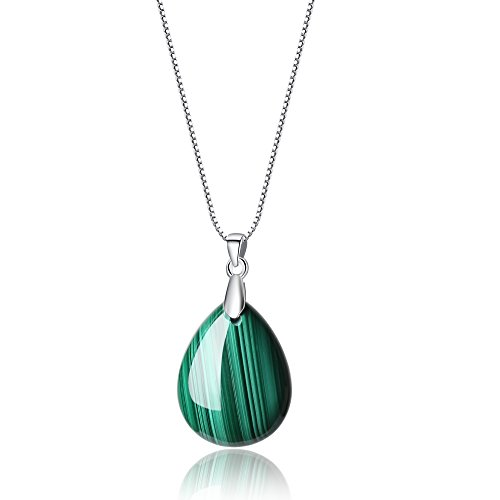 coai 925 Sterling Silver Chain Semi Precious Gemstone Malachite Teardrop Pendant Necklace