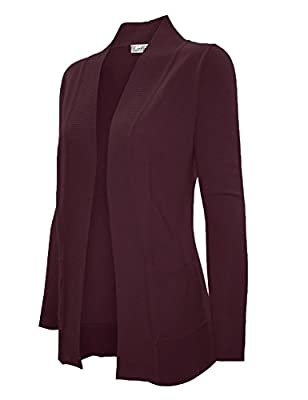 Cielo Women's Solid Basic Open Front Pockets Knit Sweater Cardigan Burgundy 2 3XL from