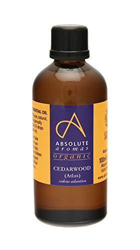 Absolute Aromas Aceite Esencial Orgánico de Cedro del Atlas - 100% Puro, Certificado Orgánico, Natural y Sin Diluir Para Aromaterapia (100ml)
