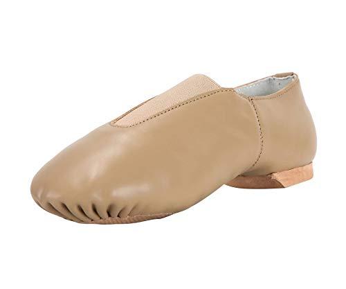 Linodes Leather Jazz Shoe Slip On (Toddler/Little Kid/Big Kid) with Elastic Top Piece Brown 3.5M Big Kid