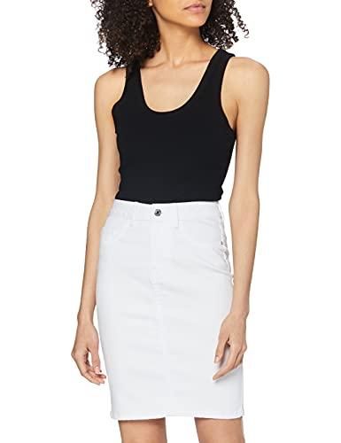 Vero Moda VMHOT Nine HW DNM Pencil Skirt GA Noos Gonna, Bianco (Bright White Bright White), M Donna