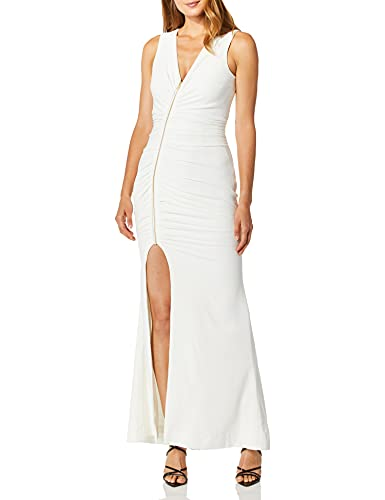 Dress the Population Women s Cher Exposed Zipper Plunging Long Gown Dress, Off White, M