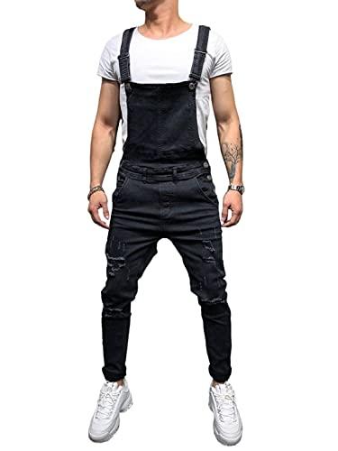 Geagodelia Salopette pour homme en denim décontracté pour homme, couleur unie, pour homme, coupe slim et tendance, taille S-3XL, Noir , XL