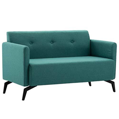 Festnight- 2-Sitzer-Sofa Loungesofa Sofagarnitur für Wohnzimmer Stoffbezug 115 x 60 x 67 cm Blau/Grün