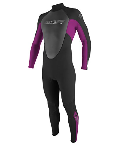 O'Neill Wetsuits Kids' O'Neill Youth Reactor 3/2mm Back Zip Full Wetsuit, Black/Pink/Graphite, 8