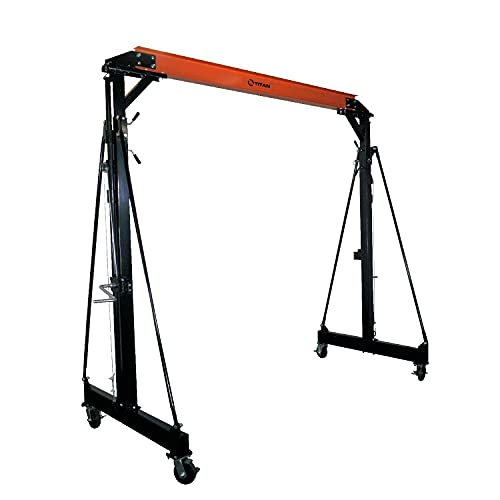 Titan Attachments 1.5 Ton Telescoping Gantry Crane, Portable Shop Lift Hoist, Frame Only, Rated...