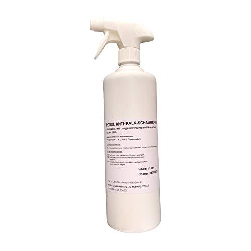 EOSOL Anti-Kalk-Schaumspray, Inhalt: 1.000 ml, gegen extreme Verschmutzungen, hochaktiv, mit Langzeitwirkung und Glanzeffekt, für Duschwände aus Echtglas, Fliesen, Glas u. Armaturen