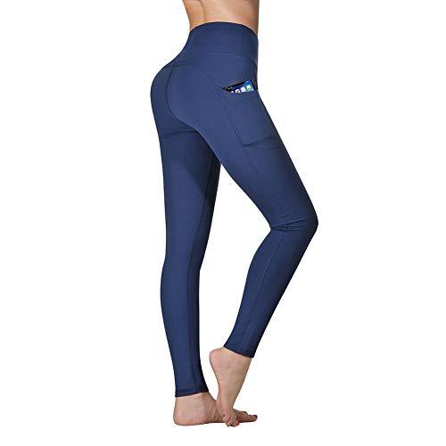 Vimbloom Pantalón Deportivo de Mujer Cintura Alta Leggings para Running Fitness Yoga Leggings VI263(Azul Profundo,M