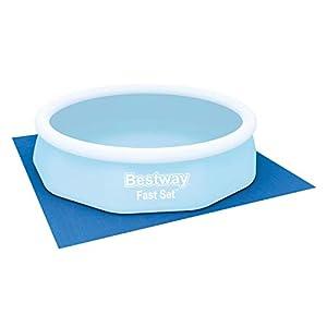 BESTWAY 58001 – Tapiz de Suelo para Piscina 335×335 cm de PVC Resistente Forma Cuadrada Para Piscinas Redondas de 305 cm de Diámetro Color Azul Fácil Instalación