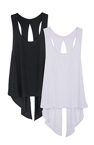 icyzone Damen Tank Tops Casual Kurzarm Rückenfrei Shirts für Yoga Workout (M, Black/White)