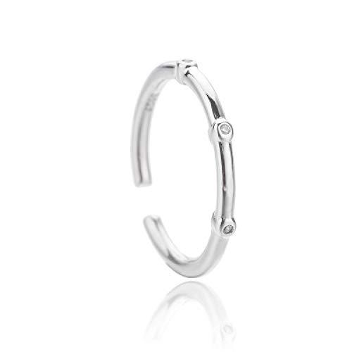 KUNZE Anillo de mujer, anillos de mujer, anillo de bambú de diamante de plata de ley 925, anillo redondo elegante simple, regalo de joyería con caja de joyería
