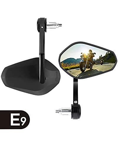 """7/8"""" 22mm Specchietti Moto Omologati, Specchietti per Manubrio E9 Retrovisori Universali Bar End Specchio Posteriore in Vetro Convesso Senza Angolo Cieco per Moto Scooter Cruiser"""
