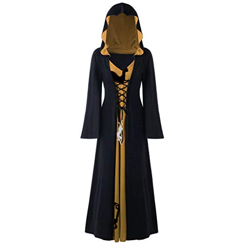 Gothic Kleidung Damen,Damen Übergröße Halloween Weihnachten Kleidung Hooded Lace Up Patchwork...