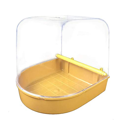 Heitaisi Parrot Bird Bath Box, No-Leakage Design with Universal Clip Clear View for Most Birdcages, Bird Cage Accessories Bathing Tub Supplies for Brids Canary Budgies Parrot
