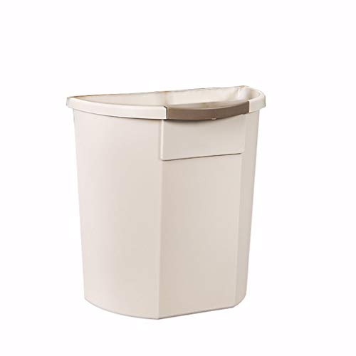 NYKK Trash Can/Waste Basket Wall-Mounted Kitchen Trash Can Creative Cabinet Door Storage Barrel Without Cover Plastic Small Storage Box(8 liters / 2.1 gallons) Garbage Container Bin (Color : Beige)