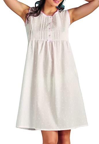 Vilfram - Damen-Nachthemd mit breiten Schultern, hellblau, 100 % Baumwolle, Batist-Stoff mit Blumendruck, Knopfverschluss, Schleife aus Satin, 10728-CE, Blau, 10728-CE 40