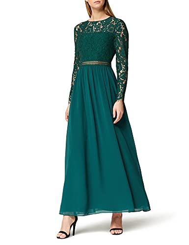 Amazon-Marke: TRUTH & FABLE Damen Maxi A-Linien-Kleid aus Spitze, Grün (Green), 40, Label:L