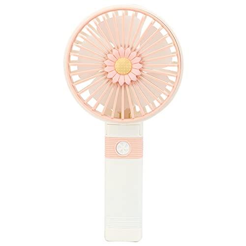 QQYY Ventilador portátil, Fuente de alimentación de Carga y Ventilador de Velocidad Ajustable, Viaje al Aire Libre portátil o Oficina de Oficina Interior, Plegable Light Pink