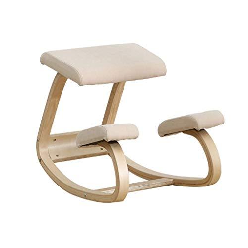 DAHAI Stuhl Massivholzschaukel Mit Sitzposition Correct Anti-Myopie Posture Kniend Ergonomischer Stuhl Balans Knie Rücken Hocker Rocking Mit Sitzkissen Orthopädische Weich