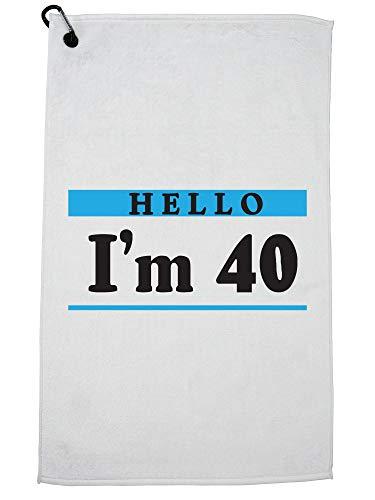 Hollywood Thread Hallo Ik ben 40 Gelukkige Verjaardag Naam Tag 40e Golf Handdoek met Karabijnhaak Clip