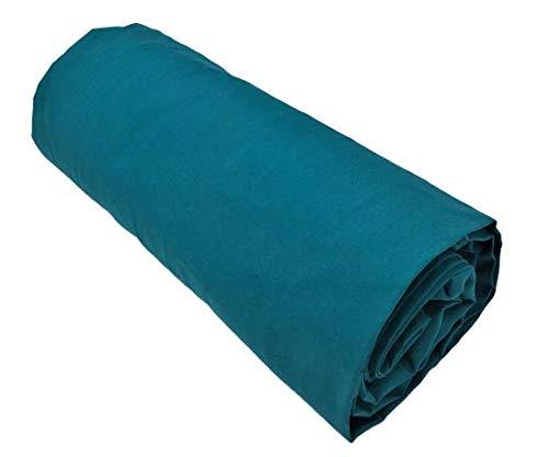 Salomé Prestige - Lenzuolo con angoli, in percalle di cotone, 80 fili/cm2, 200 x 200, berretto da 40 cm, colore: Verde petrolio