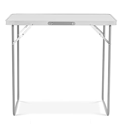 SA Products Folding Utility Table - Foldable Garden Table for Camping, Party & Picnic - Small Fold Up Desk with Aluminium Frame - Lightweight & Portable - Sturdy Outdoor Patio Furniture - 2.6 Feet