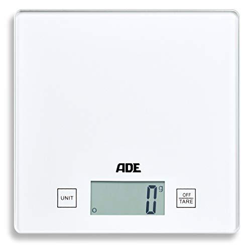ADE Küchenwaage KE 1818-2 Tina (digital und präzise für Küche und Haushalt, grammgenau bis 5 kg, mit Zuwiegefunktion, platzsparendes Design) weiß