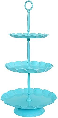 Popołudniowa herbata Wielowarstwowe stojaki na ciasto, koronkowe niebieskie metalowe stojaki na blaty na orzechowe babeczki owocowe i ozdoby Stojaki na ciasta (rozmiar: 25 * 50 cm)