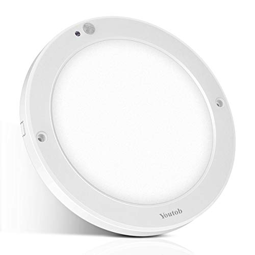 Youtob Motion Sensor LED Ceiling Light 15W 1200LM Flush Mount Round Lighting Fixture for Indoor/Outdoor, Stairs, Closet Rooms, Porches, Basements, Hallways, Pantries, Laundry Rooms(4000K Cool White)