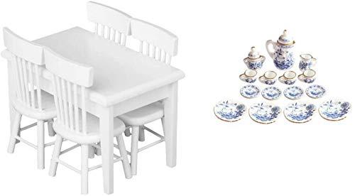 5pcs Chaise de Table en Bois & 15pcs Salle à Manger Porcelaine Service à thé Tasse à Vaisselle 1/12 Maison de poupée Miniature