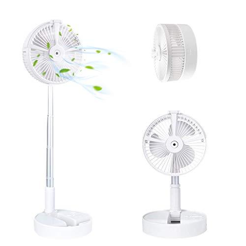 Ventilador de Mesa Pequeño Ventilador Portátil Plegable con Humidificador y luz LED, Batería Recargable de 7200 mAh, Ventilador USB Portátil para el Hogar, Oficina, Viajes, Camping (Blanco)