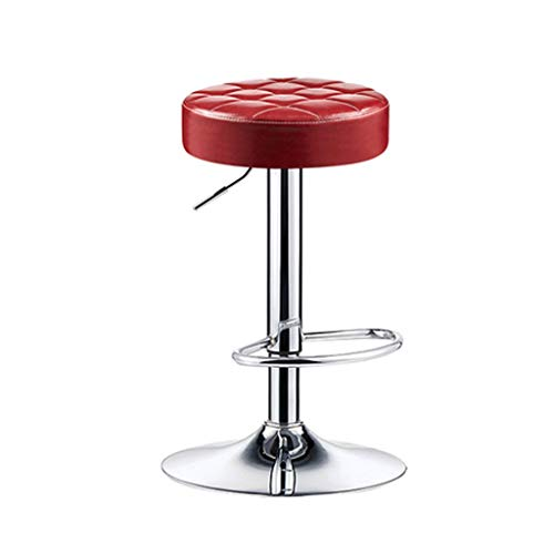 YAN QING SHOP Counter Height Bar Stool for Kitchen Counter Farmhouse Swivel Bar Chair Modern Adjustable Kitchen Island Stools Backless Upholstered Round Barstool (Color : Red)