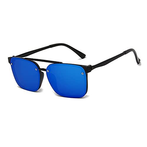 SXRAI Gafas de Sol cuadradas de Moda para Hombre, Gafas de Sol para Mujer, Espejo Uv400, Negro, Azul,C5