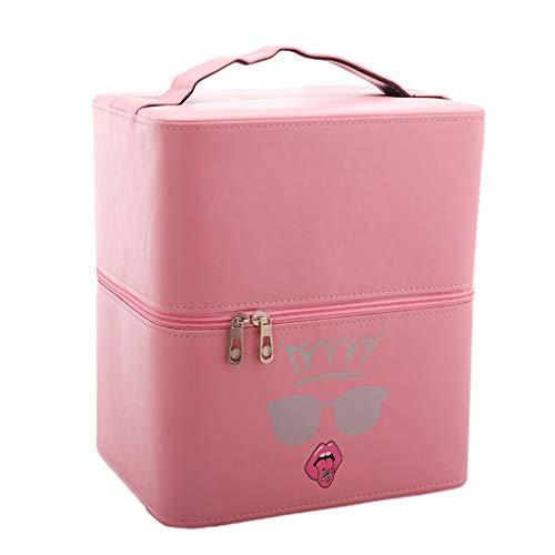 Cas cosmétique de Grande capacité Cas Multifonctionnel portatif de cosmétique Sac de Stockage Simple de 3 Couches de cosmétique portatif (Color : Pink