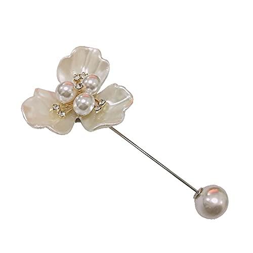 KSFBHC Camelia Pin Pearl Una Palabra Pin para Evitar El Cuello Desnudo Broche De La Chaqueta De Corsario Accesorios Cardigan Pin (Metal Color : Imitation Rhodium Plated)